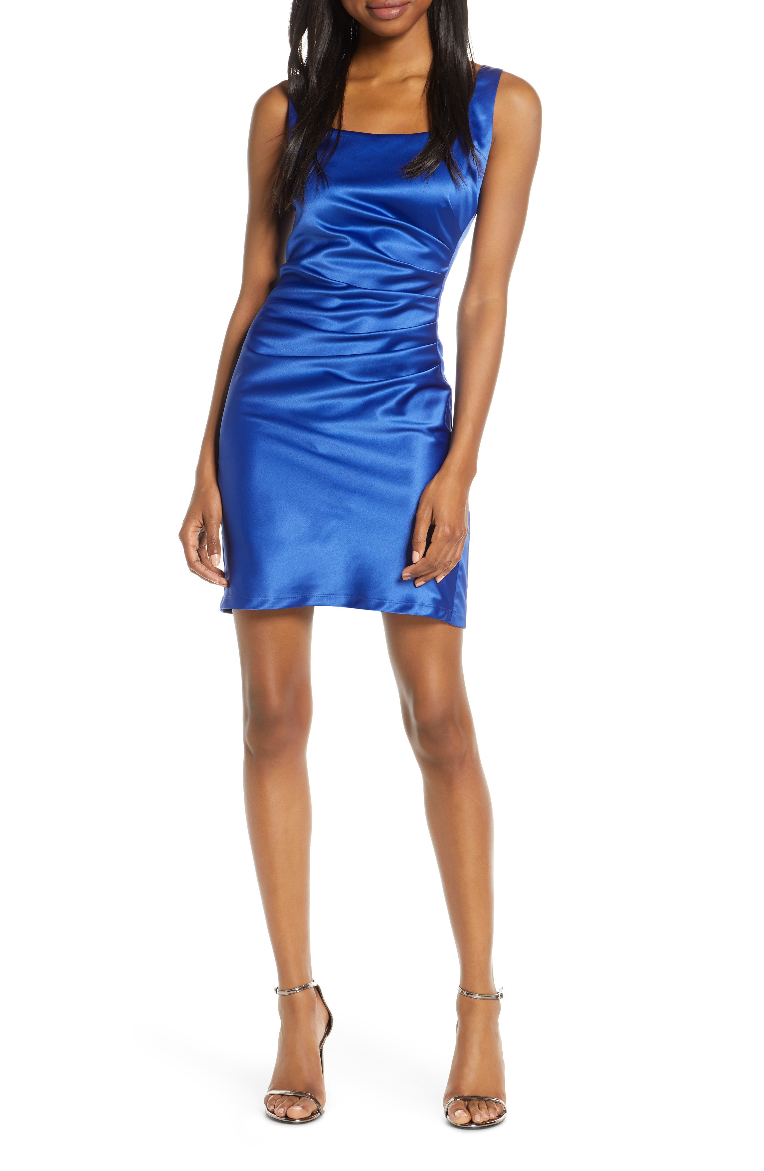 Sequin Hearts Ruched Stretch Satin Cocktail Sheath, Blue
