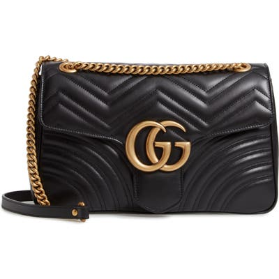 Gucci Medium Matelasse Leather Shoulder Bag - Black
