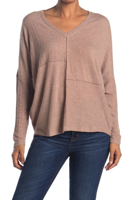 Image of H By Bordeaux Mixed Ribbed Long Dolman Sleeve Pullover