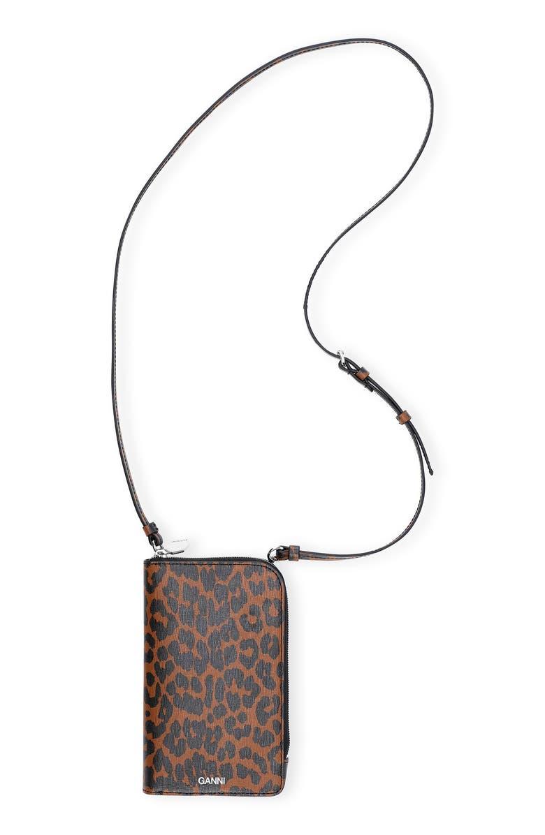 GANNI Print Leather Phone Crossbody Bag, Main, color, TOFFEE