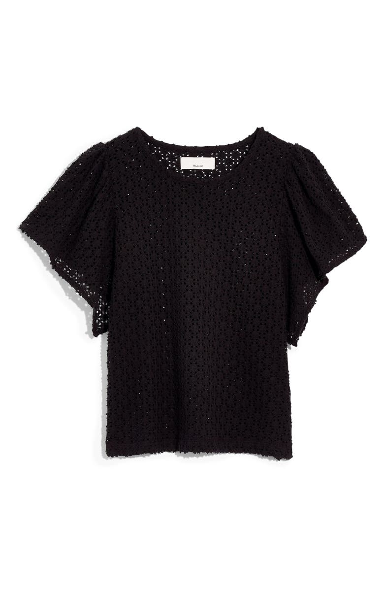 MADEWELL Texture & Thread Eyelet Flutter Sleeve Top, Main, color, TRUE BLACK
