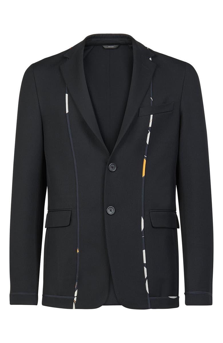 FENDI Kaleidoscope Slim Fit Deconstructed Sport Coat, Main, color, BLACK
