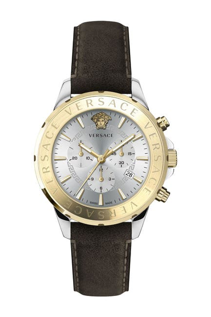 Image of Versace Men's Chronograph Leather Strap Watch, 44mm