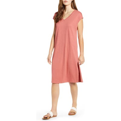 Petite Caslon Pocket T-Shirt Dress, Pink