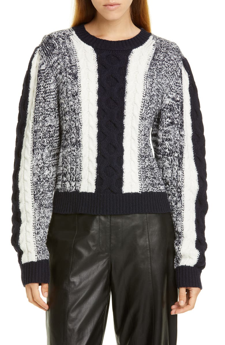 JASON WU Colorblock Cable Sweater, Main, color, STAR WHITE/ DARK NAVY