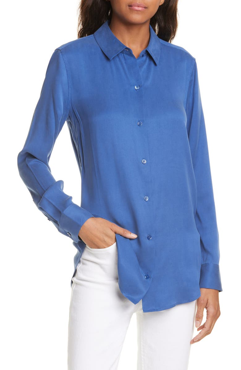 EQUIPMENT Essential Silk Blend Shirt, Main, color, TRUE BLUE