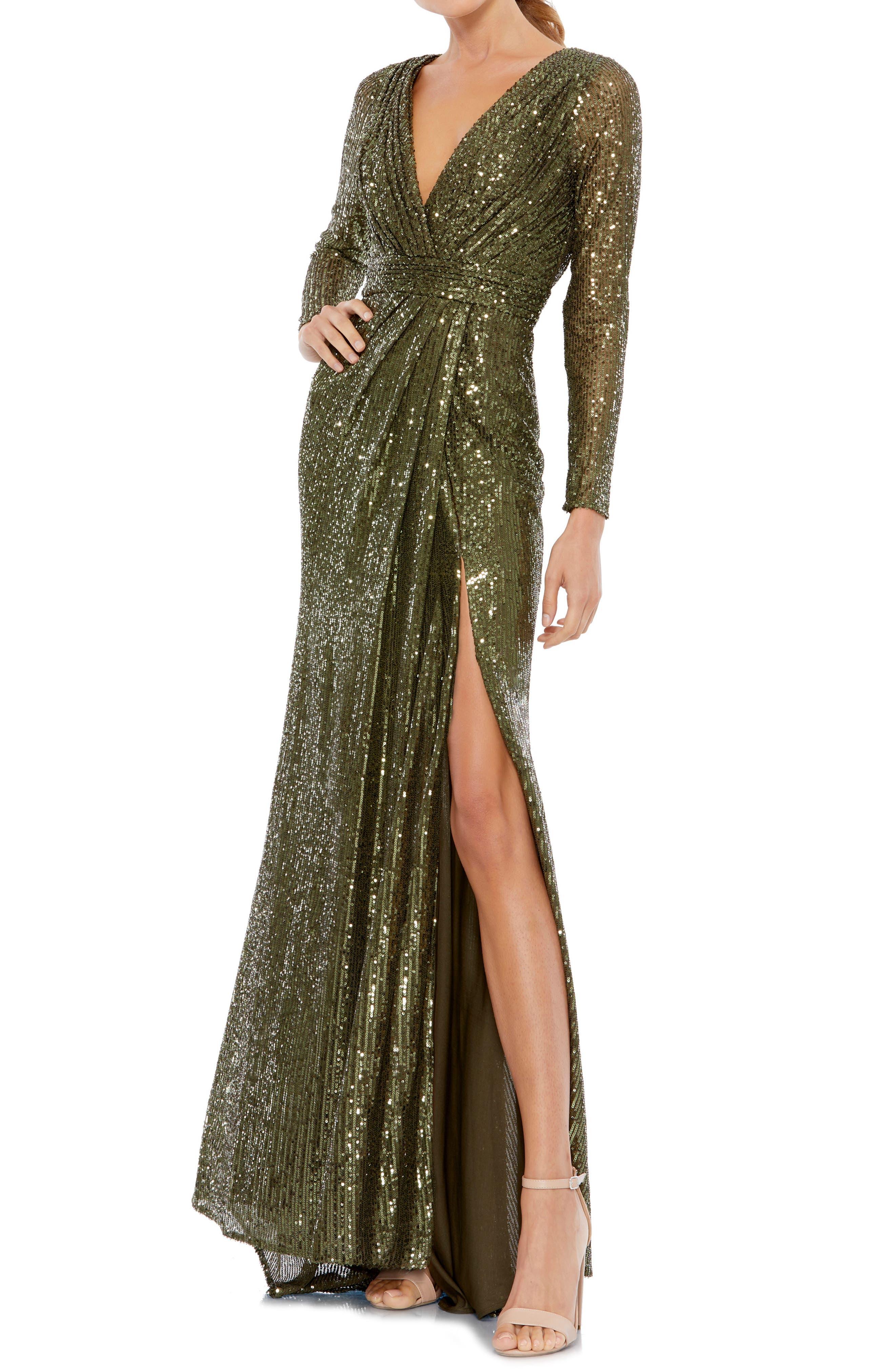 70s Dresses – Disco Dress, Hippie Dress, Wrap Dress Womens MAC Duggal Sequined Long Sleeve Gown Size 18 - Green $398.00 AT vintagedancer.com