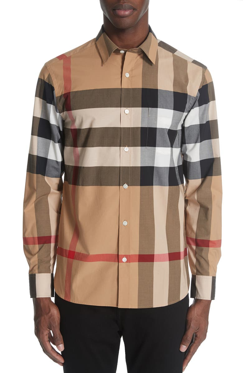 BURBERRY Windsor Slim Fit Check Sport Shirt, Main, color, CAMEL