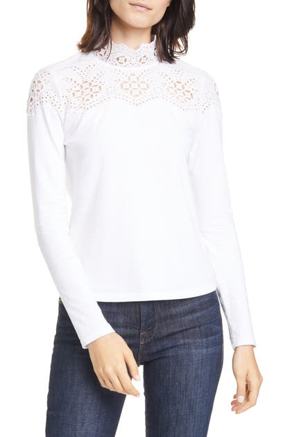 La Vie Rebecca Taylor Tops EYELET YOKE COTTON JERSEY TOP