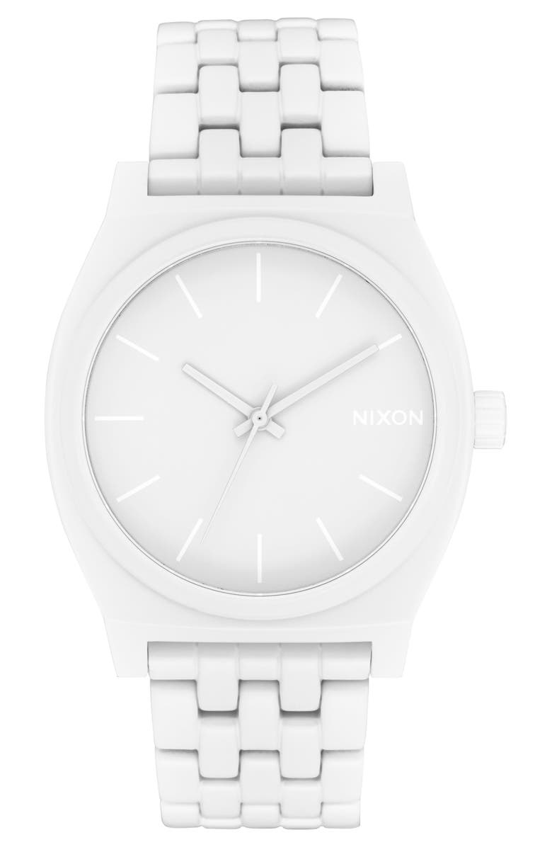 NIXON 'The Time Teller' Stainless Steel Bracelet Watch, 37mm, Main, color, WHITE