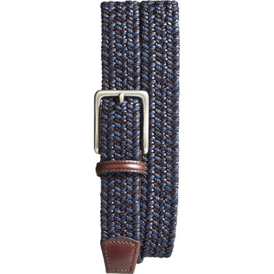 Torino Woven & Leather Belt, Navy/ Brown