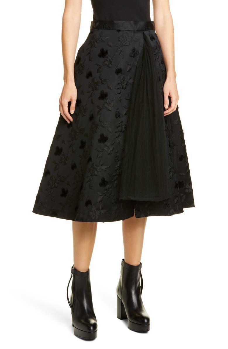 NOIR KEI NINOMIYA Floral Midi Skirt, Main, color, BLACK