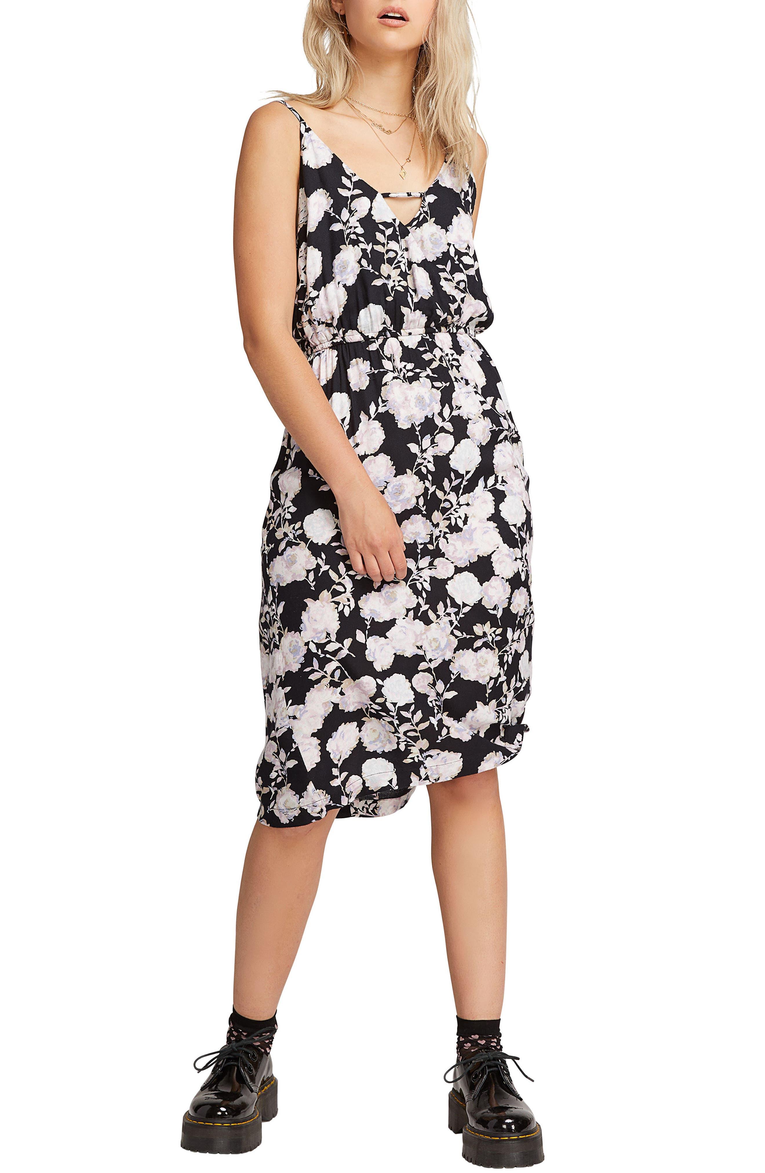 Volcom That Was Fun Floral Print Dress, Black