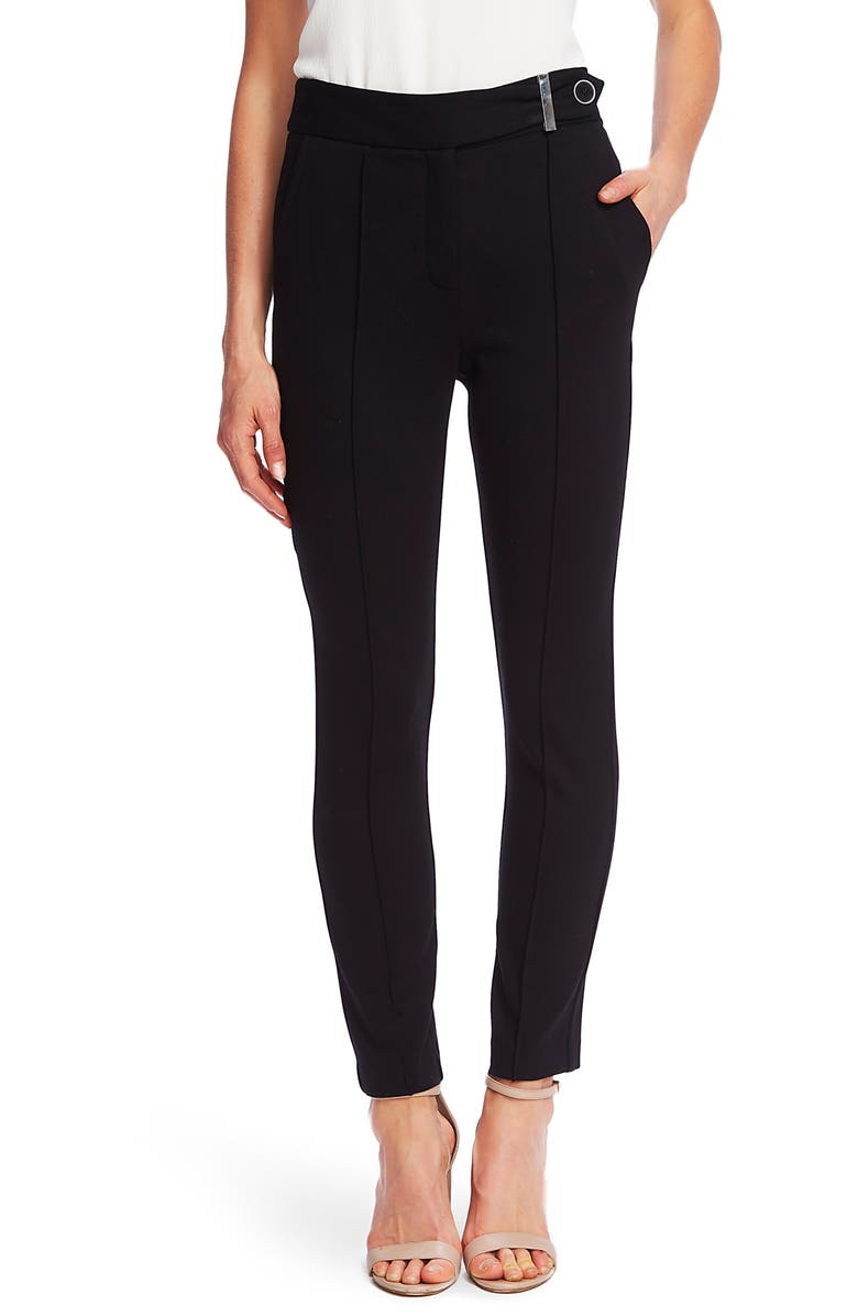 CECE Pintuck Tapered Ponte Knit Pants, Main, color, RICH BLACK