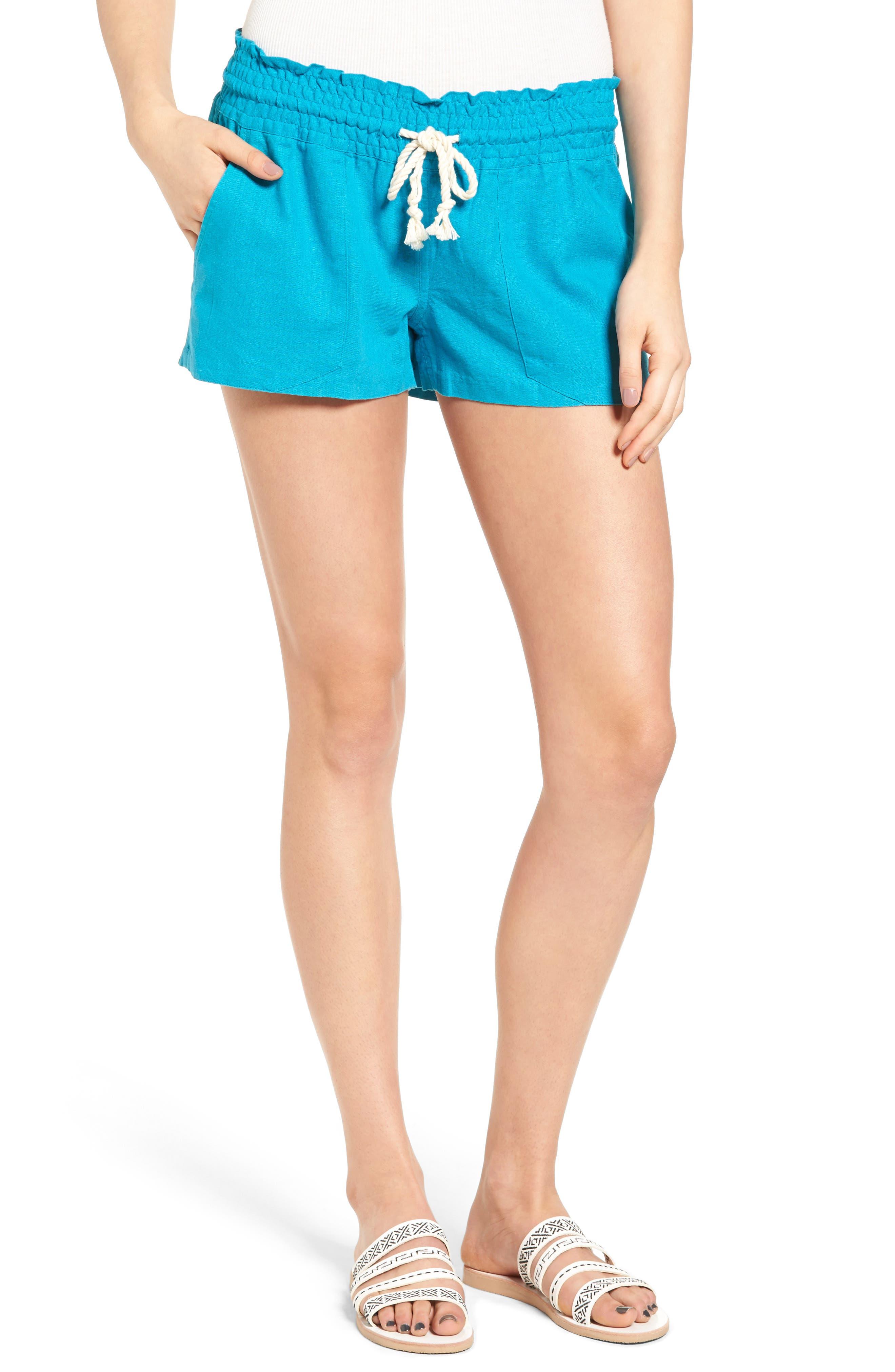 ,                             'Oceanside' Linen Blend Shorts,                             Main thumbnail 26, color,                             400