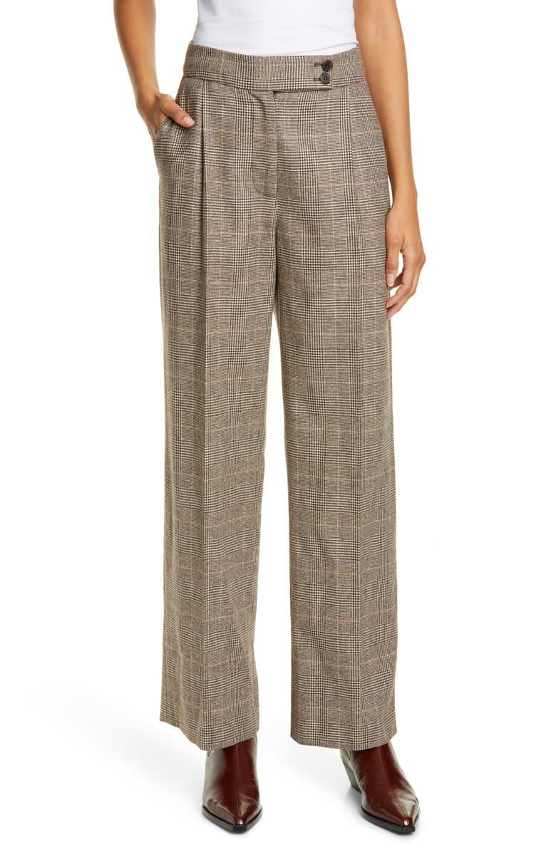 NILI LOTAN Plaid Pants, Main, color, BROWN/ CREAM