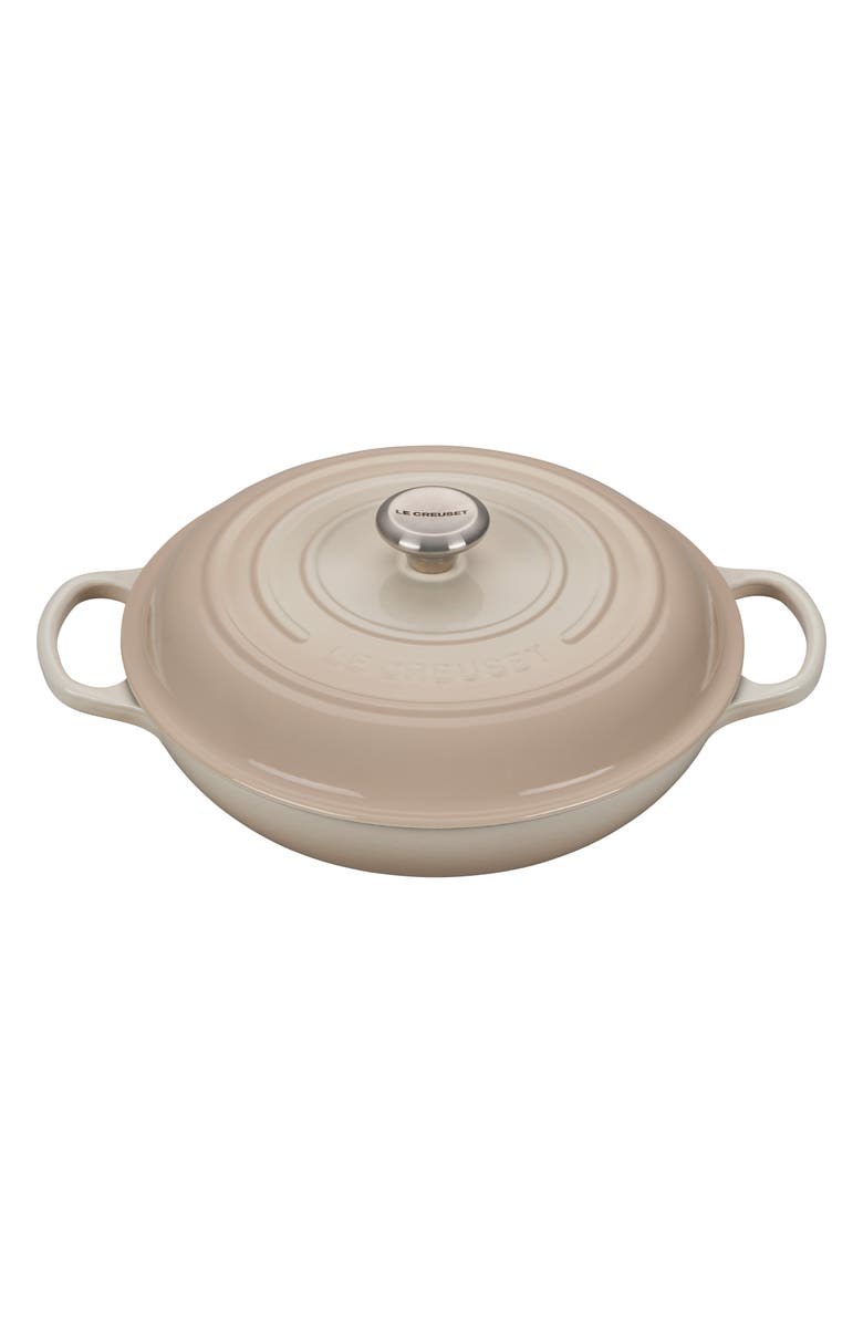LE CREUSET Signature 3 3/4 Quart Enameled Cast Iron Braiser, Main, color, MERINGUE