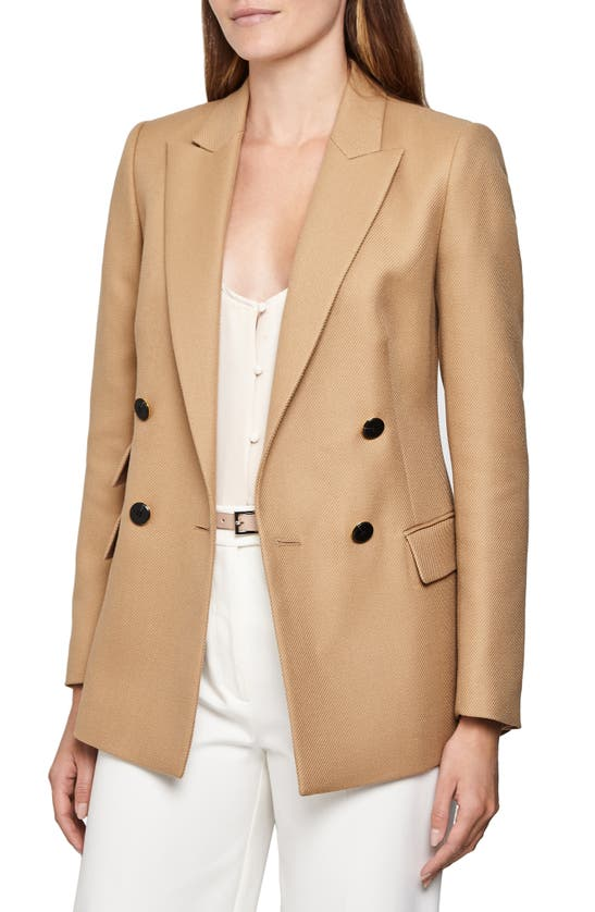 Reiss Ledbury Double Breasted Wool Blend Jacket In Camel