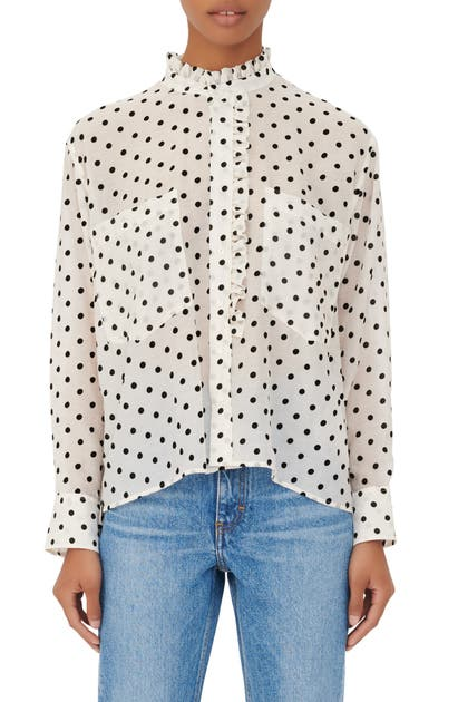 Maje Blouses POLKA DOT LONG SLEEVE BLOUSE