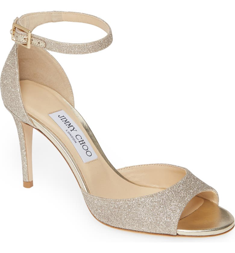 JIMMY CHOO Annie Ankle Strap Sandal, Main, color, PLATINUM ICE