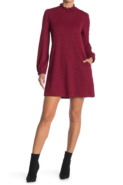 Image of MELLODAY Lurex Elastic Knit High Neck Long Sleeve Dress