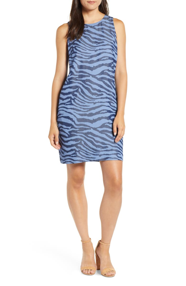 TOMMY BAHAMA Zebra Print Chambray Shift Dress, Main, color, 400