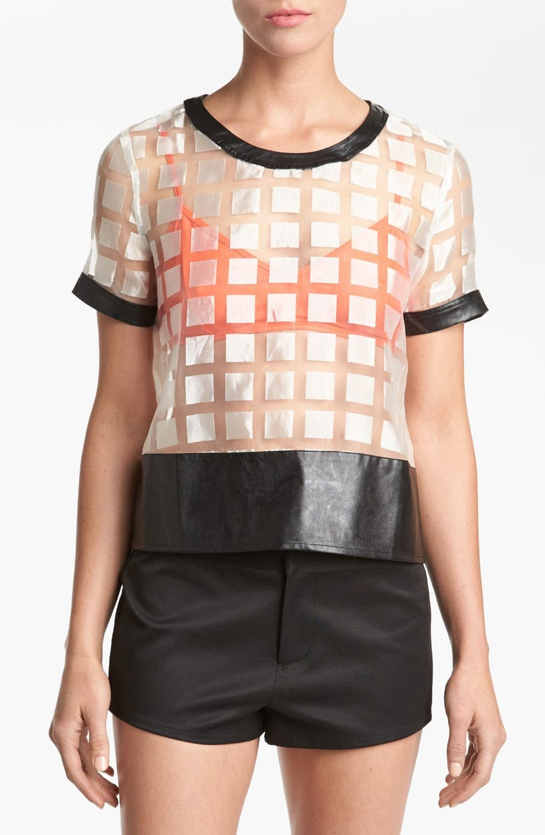 ASTR THE LABEL ASTR Sheer Tee, Main, color, 100