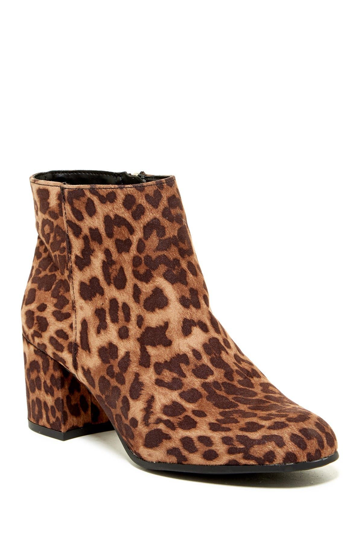 Vikki Leopard Block Heel Ankle Bootie