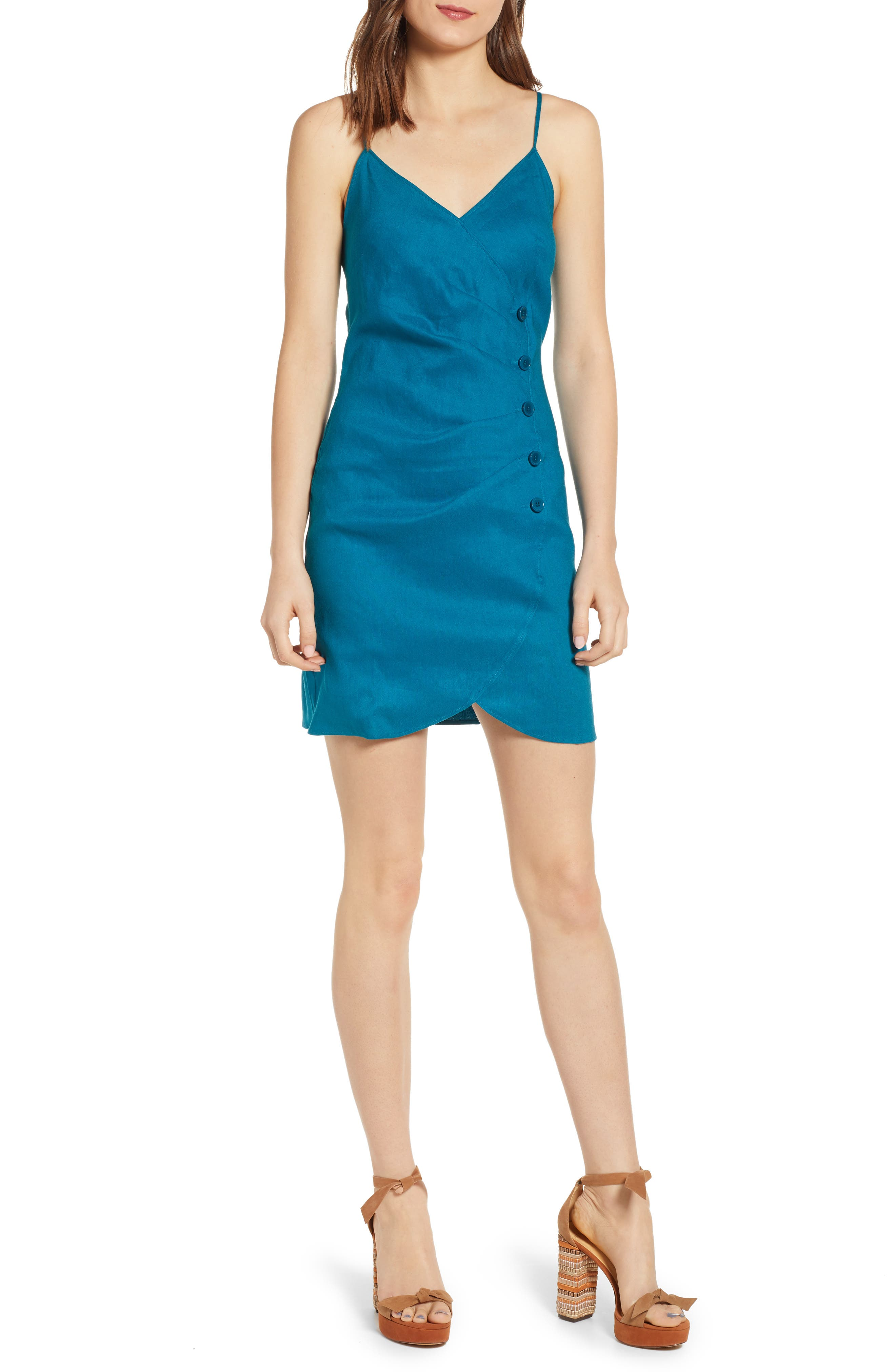 Leith Faux Wrap Minidress, Blue/green