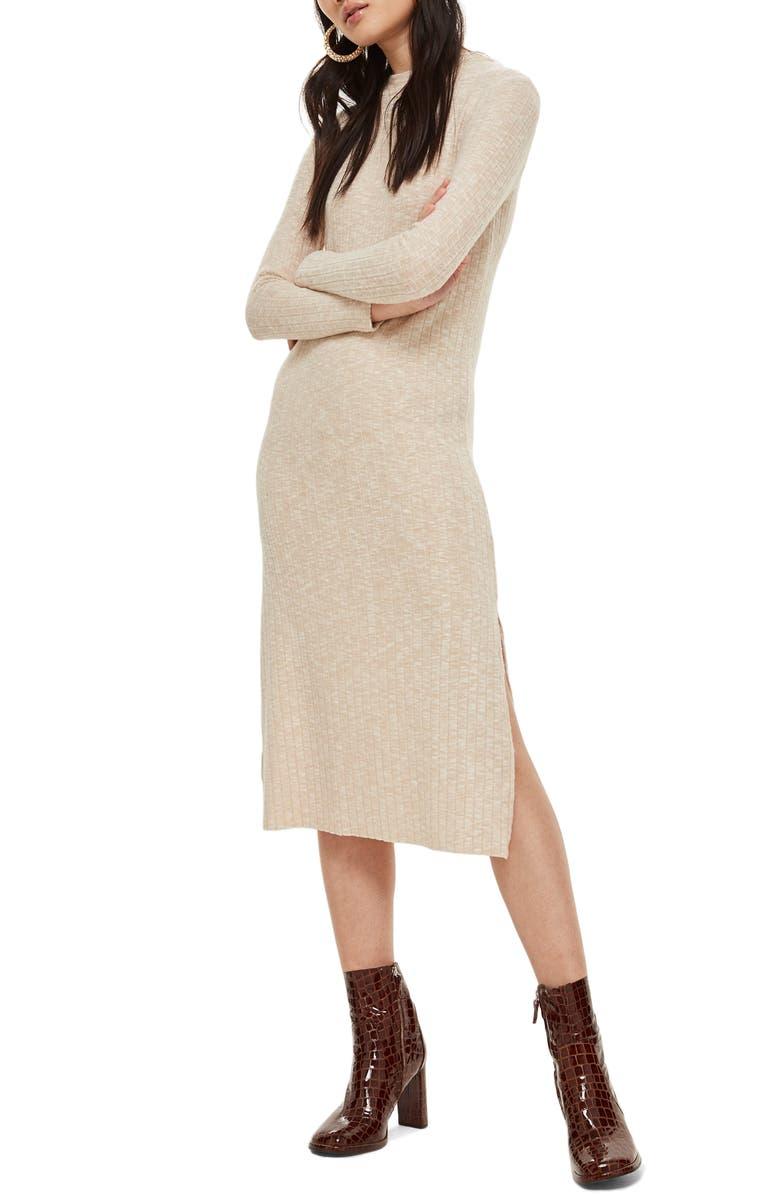 TOPSHOP Rib Knit Midi Dress, Main, color, 900