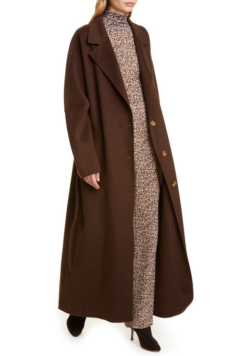 NANUSHKA Loane Belted Double Face Wool & Silk Coat, Main, color, ESPRESSO