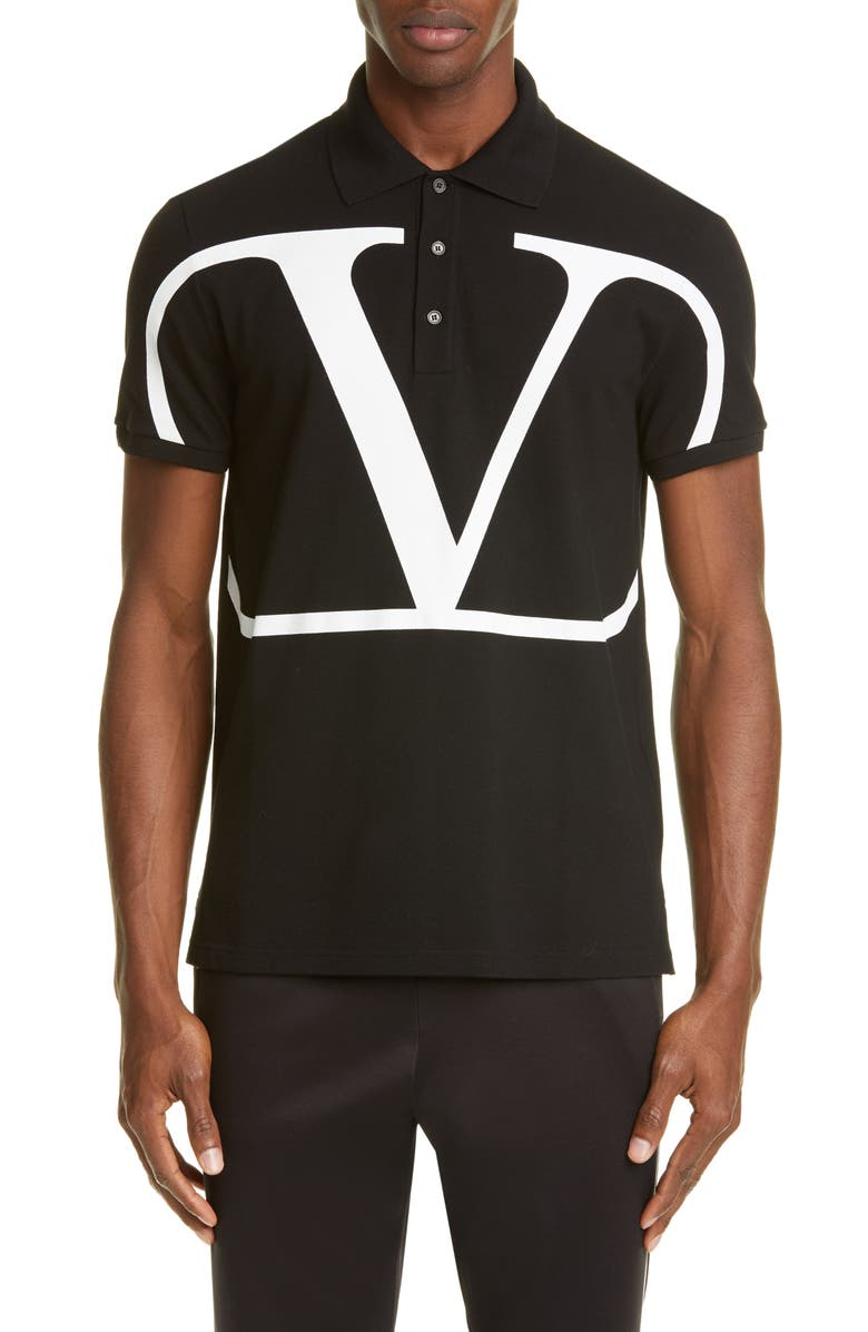 VALENTINO V-Logo Black Short Sleeve Piqué Polo, Main, color, BLACK/ WHITE