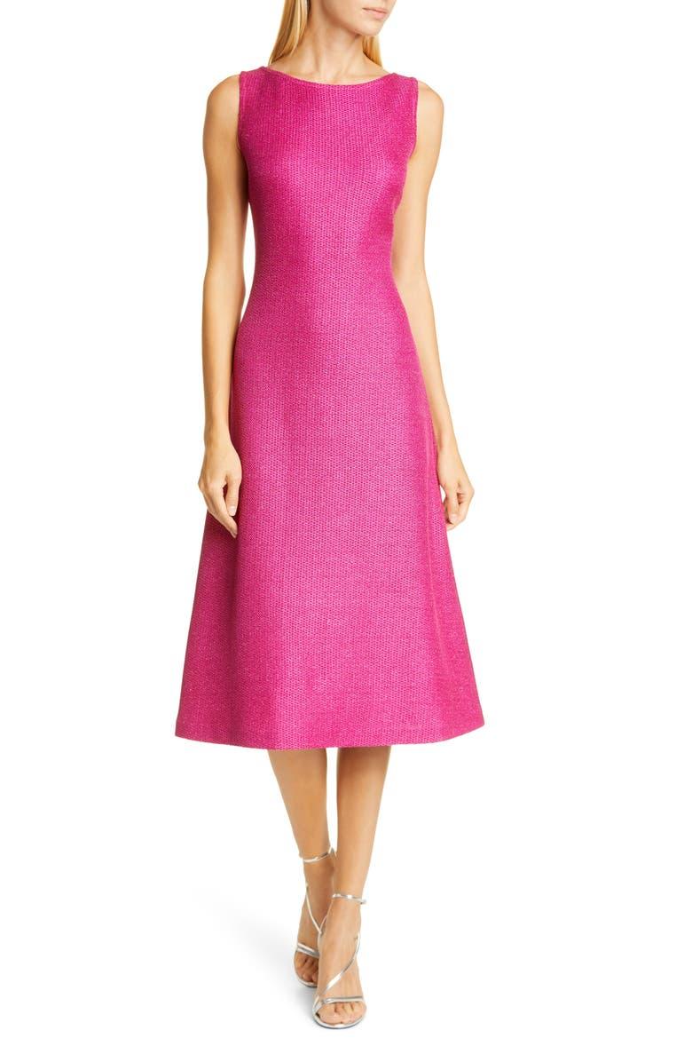 ST. JOHN EVENING Textured Metallic Inlay Knit Dress, Main, color, 650