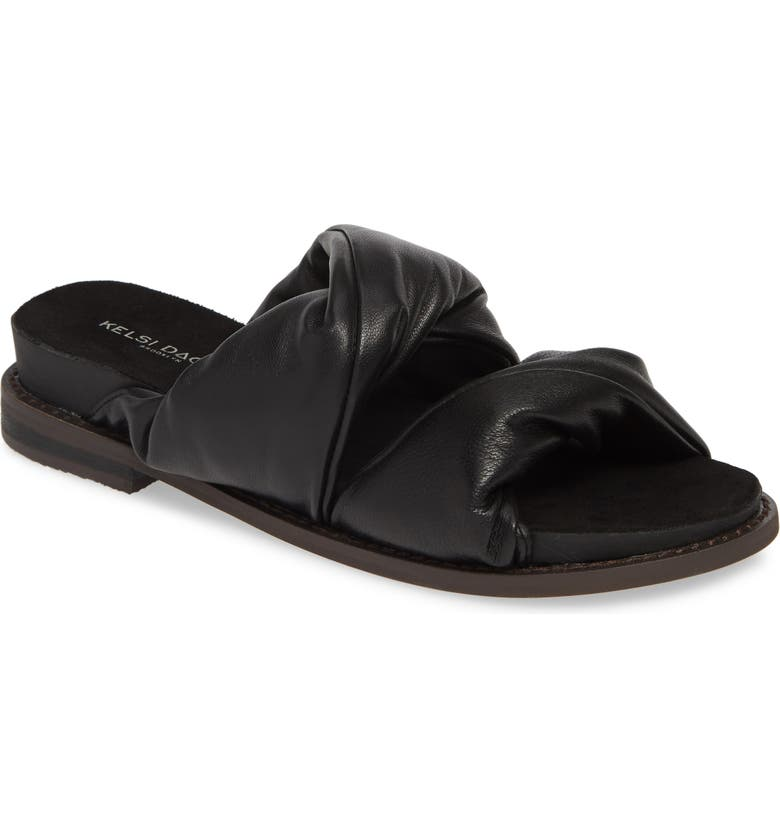 KELSI DAGGER BROOKLYN Offbeat Slide Sandal, Main, color, BLACK LEATHER