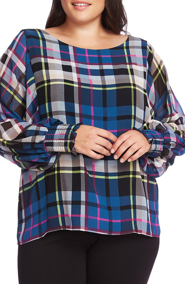 VINCE CAMUTO Plaid Chiffon Blouse, Main, color, DEACON BLUE