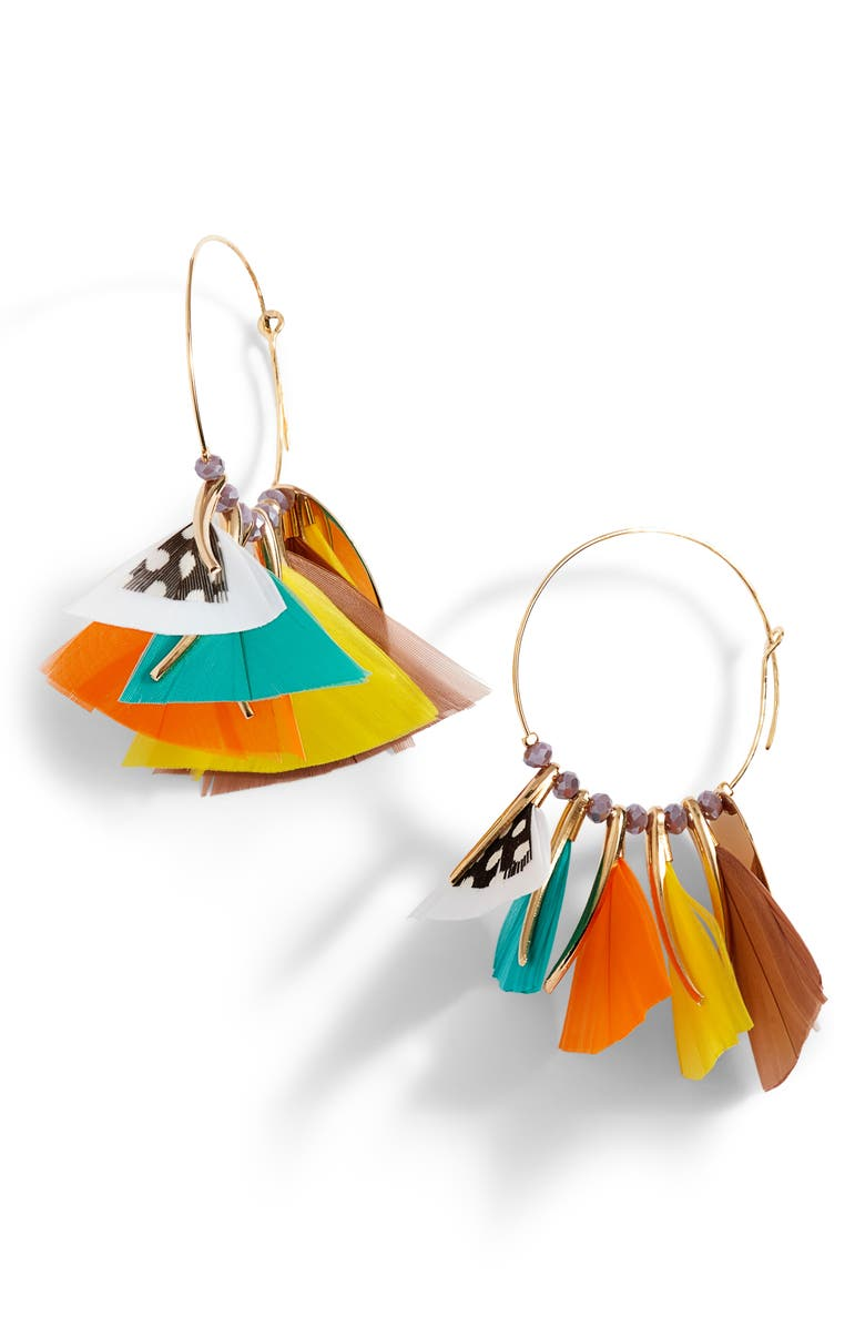 GAS BIJOUX Marly Feather Hoop Earrings, Main, color, MULTI/ BLUE/ YELLOW