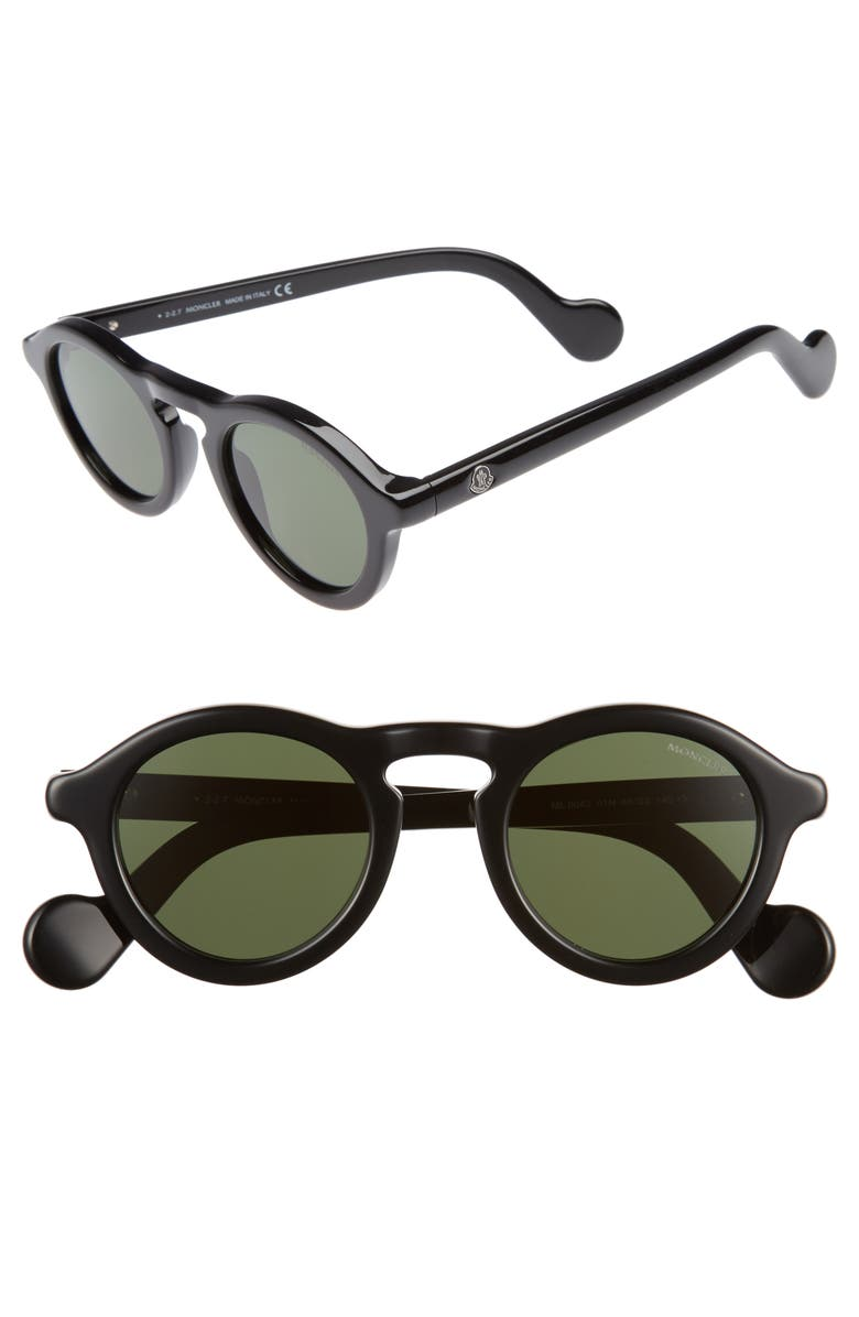 MONCLER 46mm Round Sunglasses, Main, color, BLACK/ VINTAGE GREEN