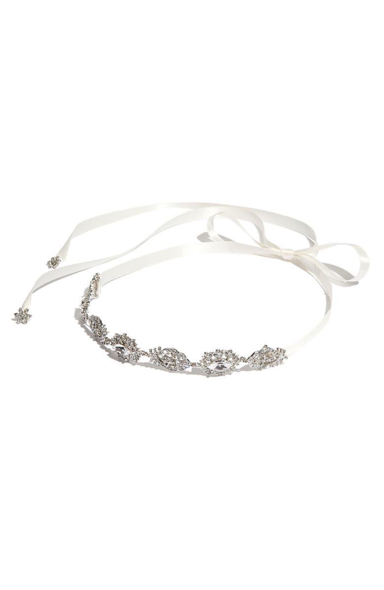 NINA 'Abril' Crystal Ribbon Head Wrap, Main, color, 100