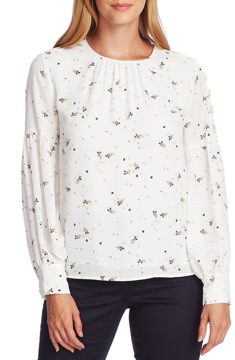 VINCE CAMUTO Whimsical Petal Button Shoulder Bubble Sleeve Top, Main, color, PEARL IVORY