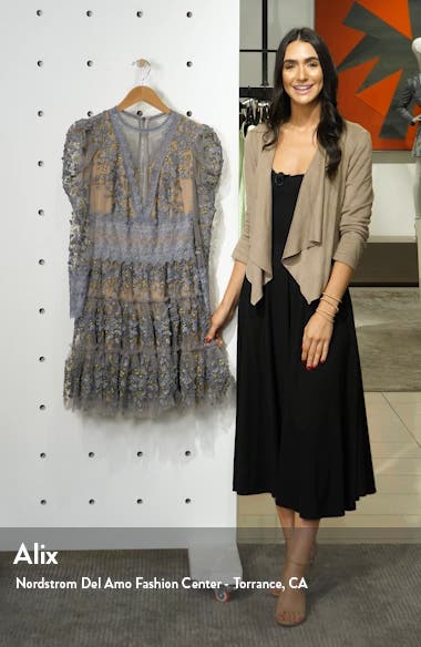 Megan Long Sleeve Grey Floral Lace Minidress, sales video thumbnail
