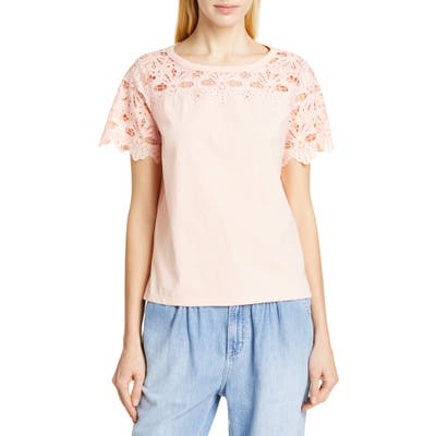 La Vie Rebecca Taylor Embroidered Detail Top, Pink