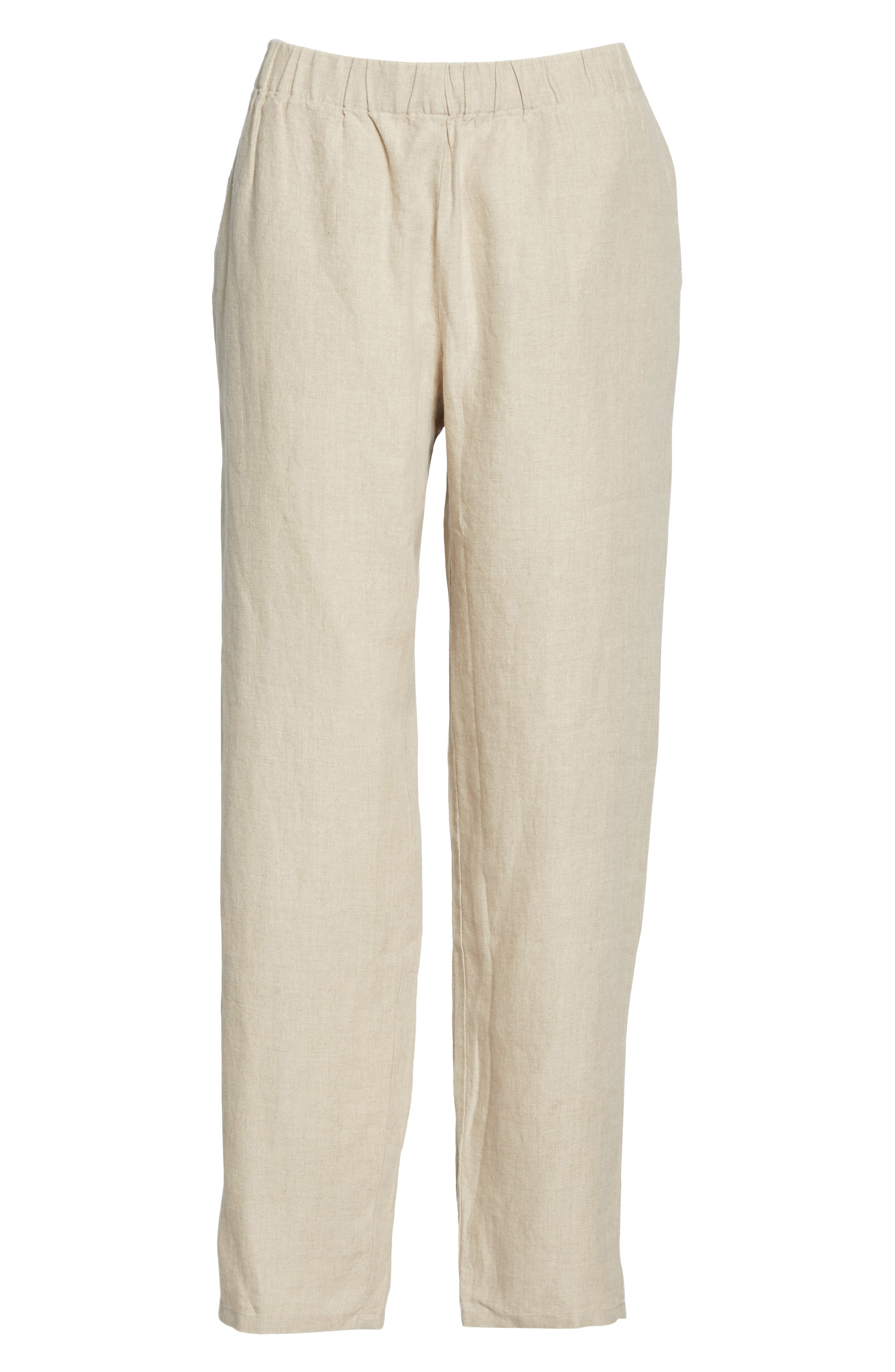 ,                             Tapered Linen Ankle Pants,                             Alternate thumbnail 7, color,                             UNDYED NATURAL