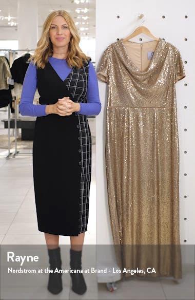 Sequin Cowl Neck Column Gown, sales video thumbnail