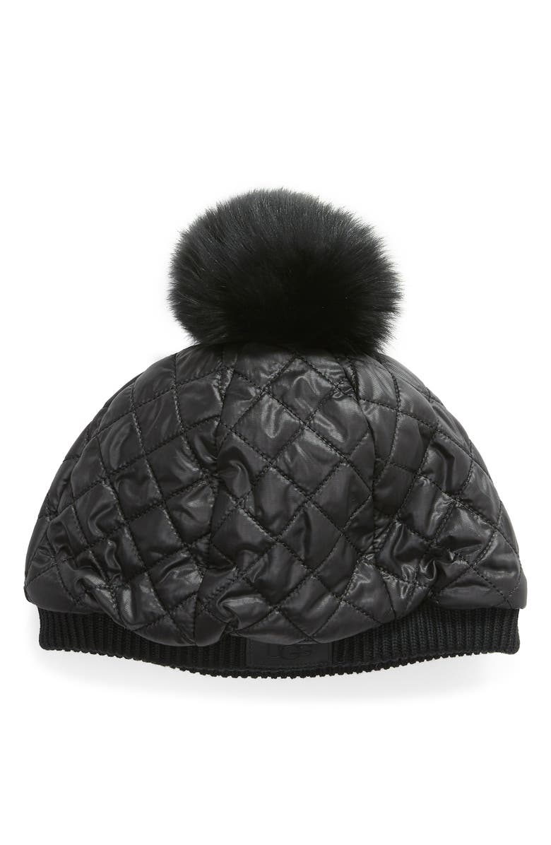 UGG<SUP>®</SUP> Quilted Genuine Shearling Pompom Hat, Main, color, 001