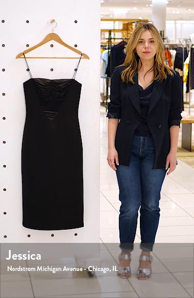 Shirred Mesh Inset Cocktail Dress, sales video thumbnail
