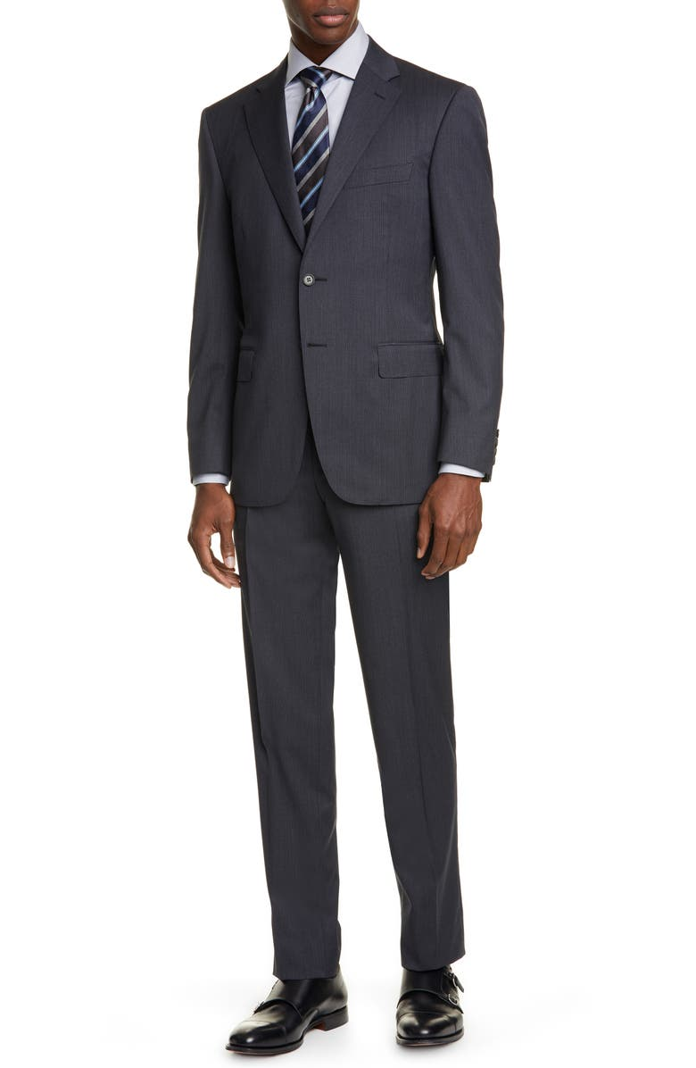 CANALI Siena Soft Shadow Stripe Classic Fit Wool Suit, Main, color, GREY