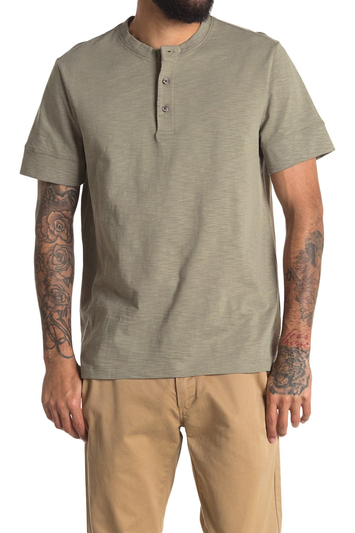 Image of DKNY Short Sleeve Henley Tee