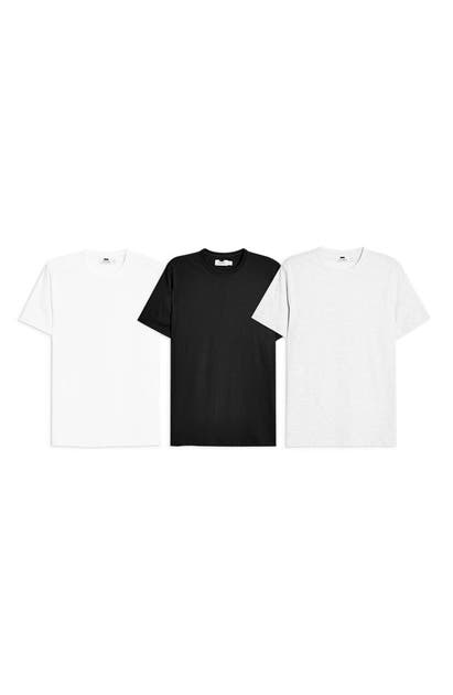 a5853e13 3-Pack Classic Fit Crewneck T-Shirts in Black/ White/ Grey