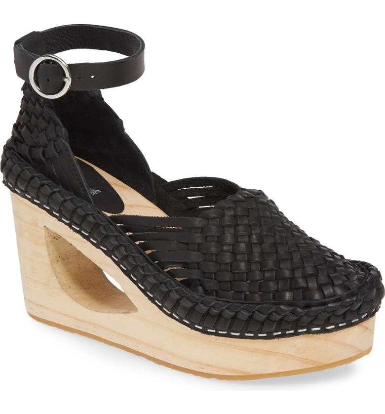 FREE PEOPLE Teagan Woven Ankle Strap Wedge Sandal, Main, color, 001
