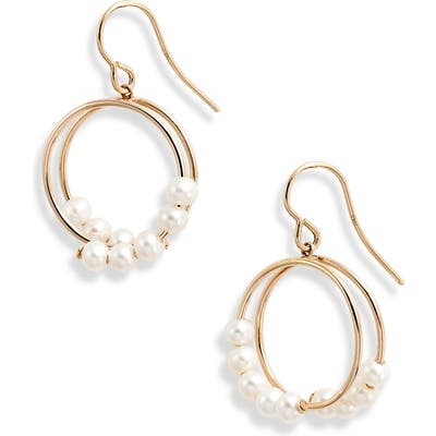 Poppy Finch Pearl Spiral Drop Earrings
